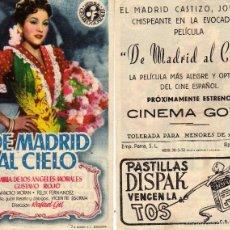 Cine: FOLLETO DE MANO DE MADRID AL CIELO. CINE GOYA ZARAGOZA. Lote 69067130
