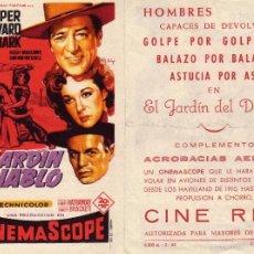 Flyers Publicitaires de films Anciens: FOLLETO DE MANO EL JARDÍN DEL DIABLO. CINE REX ZARAGOZA. Lote 56620309