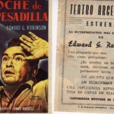 Cine: FOLLETO DE MANO NOCHE DE PESADILLA. TEATRO ARGENSOLA ZARAGOZA. Lote 56621571