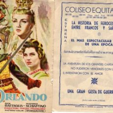 Cine: FOLLETO DE MANO ORLANDO . COLISEO EQUITATIVA ZARAGOZA VER ESTADO. Lote 56621763