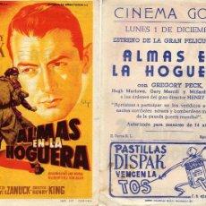 Cine: FOLLETO DE MANO ALMAS EN LA HOGUERA. CINE GOYA ZARAGOZA VER ESTADO. Lote 56629190