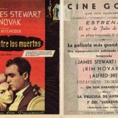 Cine: FOLLETO DE MANO DE ENTRE LOS MUERTOS, CON JAMES STEWART, KIM NOVAK, A HITCHCOK. CINE GOYA ZARAGOZA. Lote 241166320