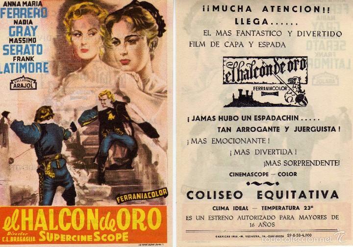 FOLLETO DE MANO EL HALCÓN DE ORO. COLISEO EQUITATIVA ZARAGOZA (Cine - Folletos de Mano - Aventura)