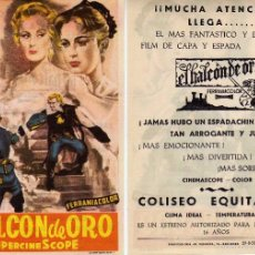 Cine: FOLLETO DE MANO EL HALCÓN DE ORO. COLISEO EQUITATIVA ZARAGOZA. Lote 56630884