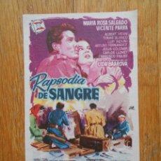 Cine: RAPSODIA DE SANGRE, FOLLETO DE MANO, CINE GOYA ZARAGOZA. Lote 56647222
