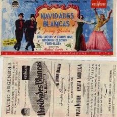 Cine: FOLLETO DE MANO NAVIDADES BLANCAS CON BING CROSBY. TEATRO ARGENSOLA ZARAGOZA. Lote 196017468