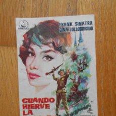 Cine: CUANDO HIERVE LA SANGRE, FOLLETO DE MANO, SIN PUBLICIDAD. Lote 56666087