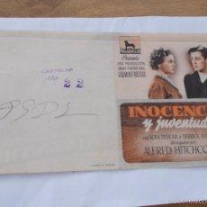 Cine: INOCENCIA Y JUVENTUD. ALFRED HITCHOCK. . Lote 56668954