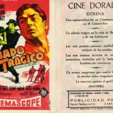 Cine: FOLLETO DE MANO SABADO TRÁGICO. CINE DORADO ZARAGOZA. Lote 107420596