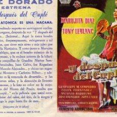 Cine: FOLLETO DE MANO DOBLE ...Y DESPUES EL CUPLE CON MARUJITA DIAZ Y TONY LEBLANC. CINE DORADO ZARAGOZA. Lote 56703411