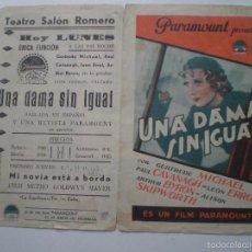 Cine: UNA DAMA SIN IGUAL - PROGRAMA DE MANO PARAMOUNT // PUBLICIDAD TEATRO SALON ROMERO, ZAFRA. Lote 56754155