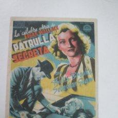 Cine: PATRULLA SECRETA - HERBERT BRENON- PROGRAMA DE MANO// PUBLICIDAD CINE CAROLINA CORONADO ALMENDRALEJO. Lote 56754514