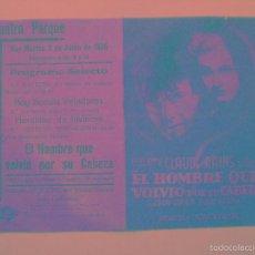 Cine: EL HOMBRE QUE VOLVIO POR SU CABEZA - EDWARD LUDWIG - PROGRAMA DOBLE // PUBLICIDAD TEATRO PARQUE . Lote 56754764