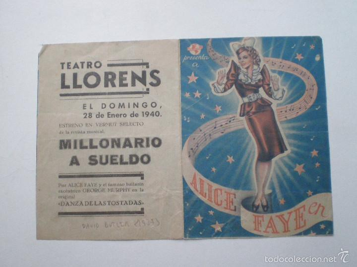 MILLONARIO A SUELDO - ALICE FAYE, DAVID BUTTLER - FOLLETO DE MANO // PUBLICIDAD TEATRO LLOREN'S (Cine - Folletos de Mano - Acción)