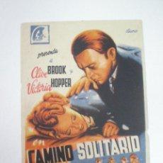 Cine: CAMINO SOLITARIO - FOLLETO DE MANO GRAFICAS VALENCIA. Lote 56758700