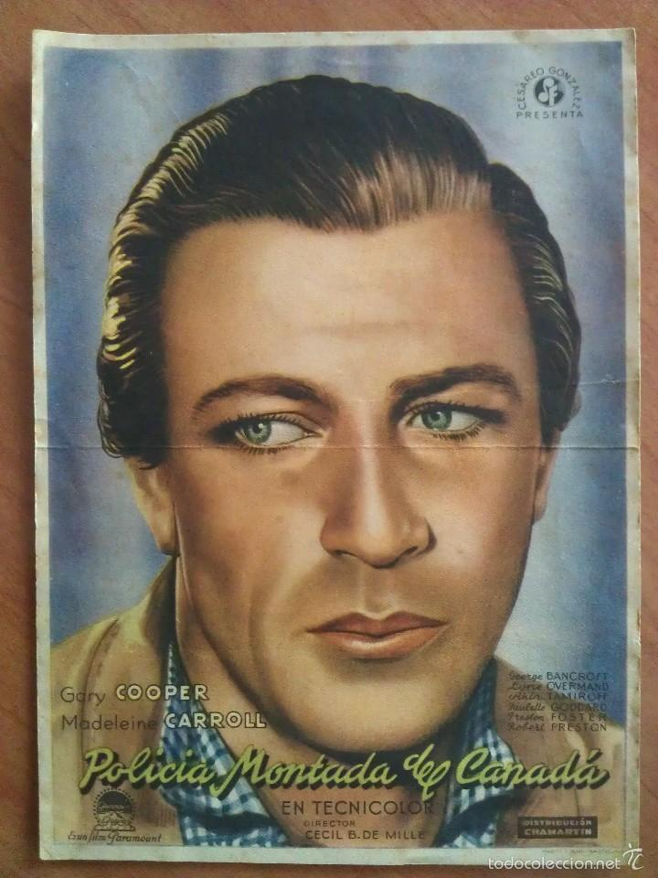 PROGRAMA DE MANO : POLICÍA MONTADA DE CANADÁ : GARY COOPER - SIN PUBLICIDAD (Cine - Folletos de Mano - Westerns)