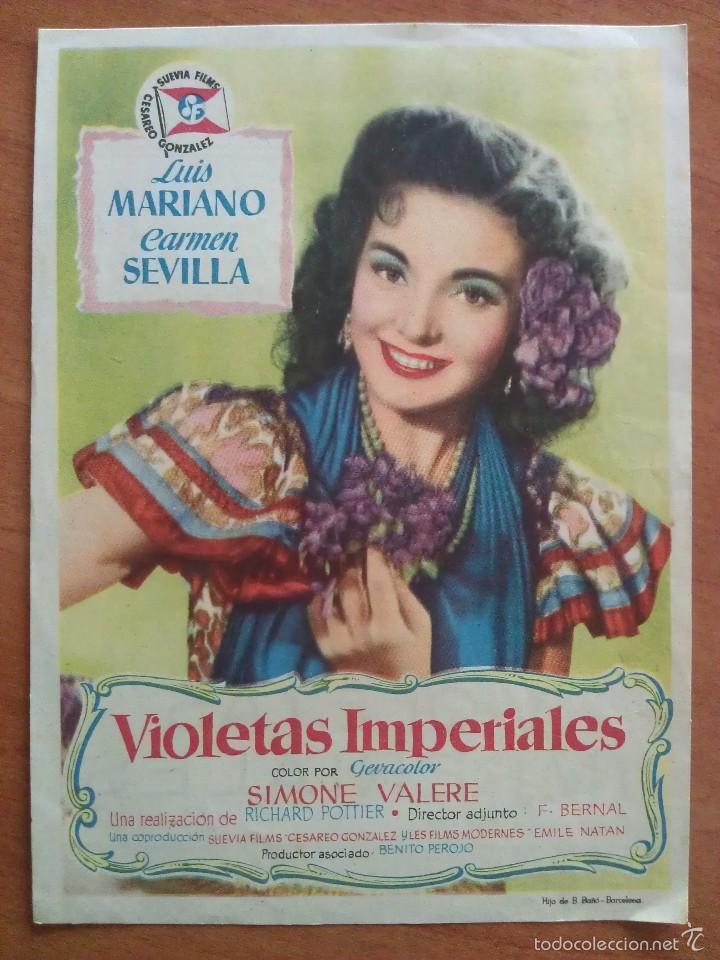 1953 VIOLETAS IMPERIALES - CÁRMEN SEVILLA (Cine - Folletos de Mano - Clásico Español)