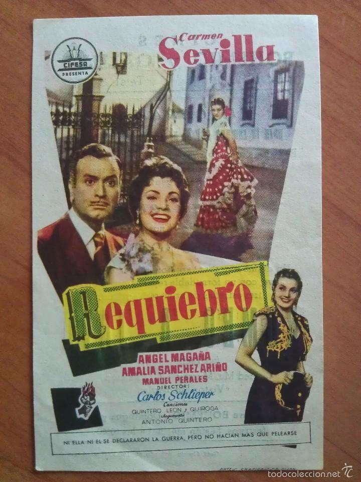 1957 REQUIEBRO - CÁRMEN SEVILLA (Cine - Folletos de Mano - Clásico Español)