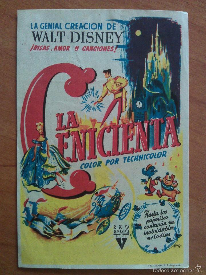 LA CENICIENTA - WALT DISNEY (Cine - Folletos de Mano - Infantil)