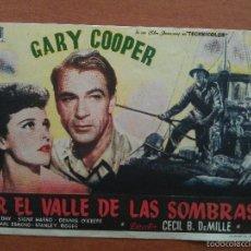 Cine: POR EL VALLE DE LAS SOMBRAS - GARY COOPER - SIN PUBLICIDA. Lote 56862448