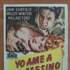 Cine: YO AMÉ A UN ASESINO - JOHN GARFIELD. Lote 56862923