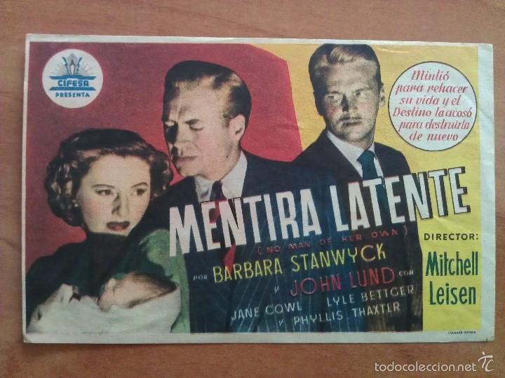 1951 MENTIRA LATENTE - BARBARA STANWYCK (Cine - Folletos de Mano - Drama)