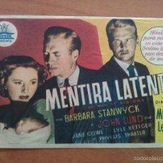 Cine: 1951 MENTIRA LATENTE - BARBARA STANWYCK. Lote 56863365