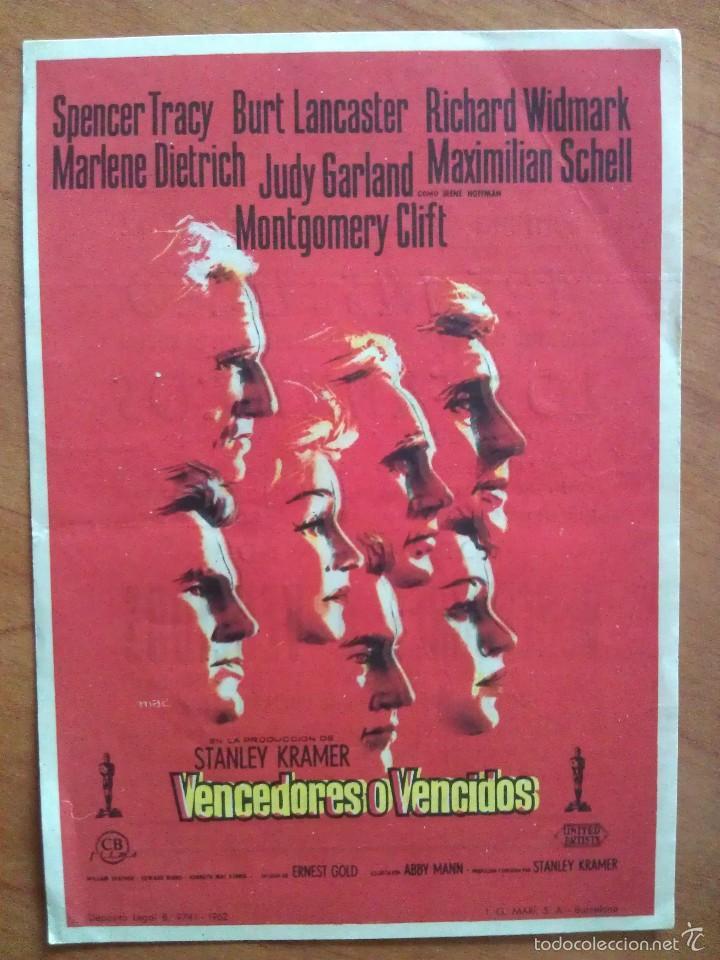 1962 VENDEDORES O VENCIDOS - SPENCER TRACY (Cine - Folletos de Mano - Drama)