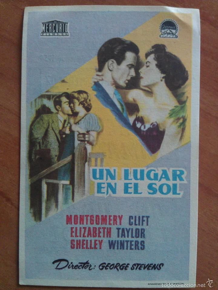 1954 UN LUGAR EN EL SOL - MONTGOMERY CLIFT (Cine - Folletos de Mano - Drama)