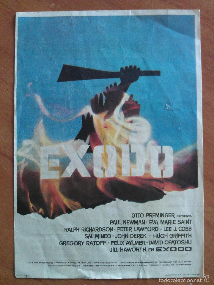 1963 EXODO - PAUL NEWMAN (Cine - Folletos de Mano - Bélicas)
