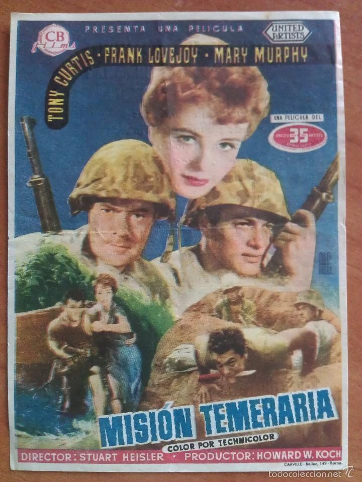 MISIÓN TEMERARIA - TONY CURTIS (Cine - Folletos de Mano - Bélicas)