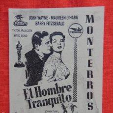 Cine: EL HOMBRE TRANQUILO, IMPECABLE LOCAL 1955, JHON WAYNE MAUREEN O'HARA, CINE MONTERROSA. Lote 56970635