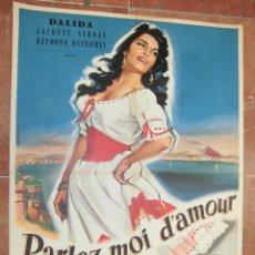 Cine: DALIDA CARTEL FRANCES DEL FILM PARLEZ-MOI D´AMOUR 56 X 78 CTMS.. Lote 56996948