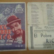 Cine: FOLLETO DE MANO DOBLE CON PUBLICIDAD EL POBRE RICO. Lote 57052343