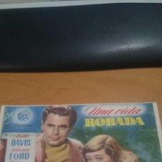 Cine: PROGRAMA DE CINE CON PUBLICIDAD UNA VIDA ROBADA. Lote 57059090