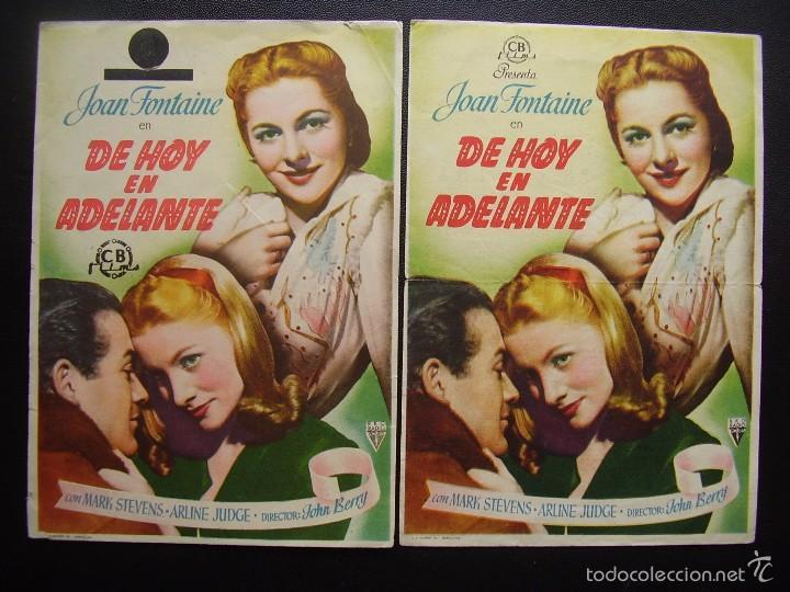 DE HOY EN ADELANTE, JOAN FONTAINE, VARIANTE DE DISTRIBUIDORA (Cine - Folletos de Mano - Drama)
