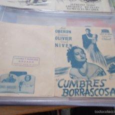 Cine: CUMBRES BORRASCOSAS. MERLE OBERON LAURENCE OLIVIER SIN PUBLICIDAD. Lote 57121537