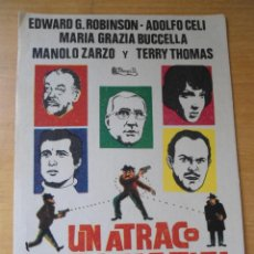 Cine: ANTIGUO PROGRAMA FOLLETO CINE - UN ATRACO DE IDA Y VUELTA - ADOLFO CELI - EDWARD G. ROBINSON. Lote 57152944