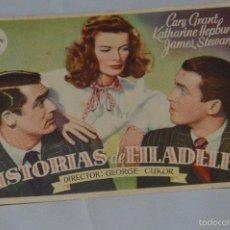 Cine: HISTORIAS DE FILADELFIA - KATHARINE HEPBURN Y CARY GRANT - CON PUBLICIDAD - AÑOS 40. Lote 57164014