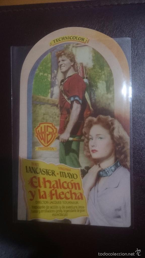 PROGRAMA DE CINE TROQUELADO CON PUBLICIDAD EL HALCON Y LA FLECHA (Cine - Folletos de Mano - Clásico Español)