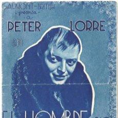 Cine: D EL HOMBRE QUE SABIA DEMASIADO PROGRAMA DOBLE BRITISH GAUMONT ALFRED HITCHCOCK PETER LORRE. Lote 57184030