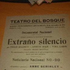 Cine: 5 PROGRAMAS CINE LOCALES AÑO 1944 TEATRO DEL BOSQUE. Lote 57193462