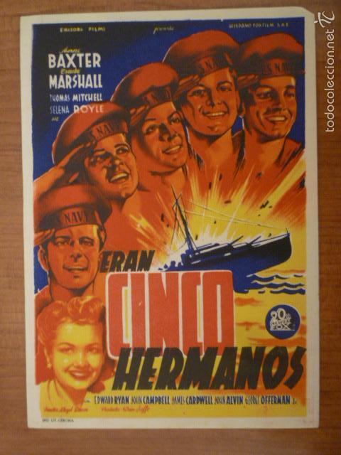 PROGRAMA DE CINE ERAN CINCO HERMANOS SIN PUBLICIDAD. (Cine - Folletos de Mano - Bélicas)