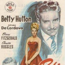 Cine: LA RUBIA DE LOS CABELLOS DE FUEGO - BETTY HUTTON, ARTURO DE CORDOVA - DIRECTOR GEORGES MARSHALL. Lote 57294088