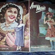 Cine: PROGRAMA DE MANO ESPECIAL ANA MARIA CINE JOSE MUÑOZ ROMAN MOTOS VESPA 1954 1942 1943 1944 1948 1952. Lote 57307240