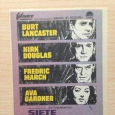 Cine: PROGRAMA DE MANO SIETE DÍAS DE MAYO (1964) - BURT LANCASTER, KIRK DOUGLAS, AVA GARNER. Lote 99313487