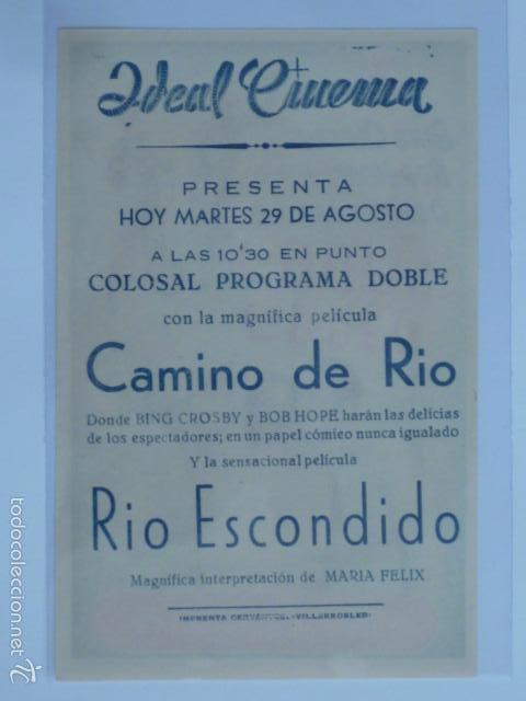 Cine: PROGRAMA DE CINE CAMINO DE RIO. IDEAL CINEMA. - Foto 2 - 57411895