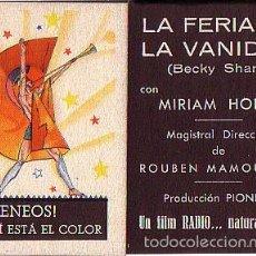 Cine: LA FERIA DE LA VANIDAD (CON PUBLICIDAD). Lote 57444232