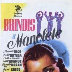 Cine: BRINDIS A MANOLETE-PAQUITA RICO-PEDRO ORTEGA,DOBLE MANOLETE-DIRECTOR.FLORIAN REY-CINEMA GOYA (ALCOY). Lote 116079015