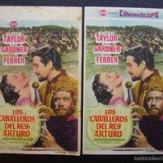 Cine: LOS CABALLEROS DEL REY ARTURO, ROBERT TAYLOR, VARIANTE, CINES DE ARENYS DE MAR Y VALLADOLID. Lote 57553662